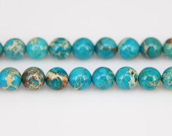 4-12mm Sky Blue Sea Sediment Jasper Smooth Round Beads Necklace Findings,Dyed Emperor Stones Loose Beads Making Bracelet Supplies Wholesale