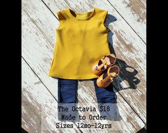 Girls top Mustard Sleeveless Handmade Made to order Toddler modern top