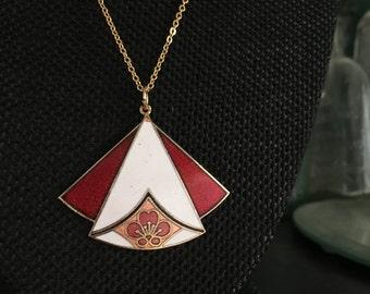 Vintage Cloisonne pendant, pendant cloisonné, white red cloisonne pendant, art deco cloisonné pendants, vintage cloisonné jewelry, N210