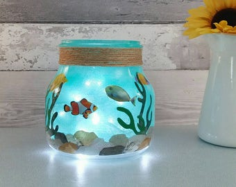 Fish Bowl night light, kids room lighting, fishtank table lamp, nursery decor, under the sea theme, quirky gifts, baby bedroom lights