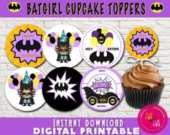 Batgirl Birthday Cupcake Toppers Printable, Instant Download Batgirl Cupcake Toppers, Batgirl Party, Superhero Party