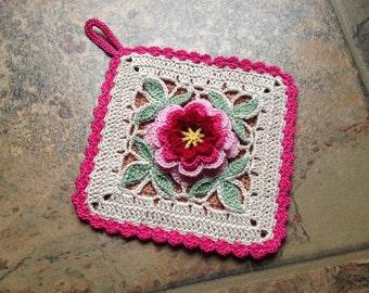 crochet pot holder flower design handmade crochet lace