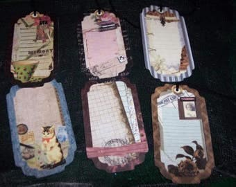 SIX Primitive Hang Tags Journal Mini Album Ephemera Gift Tags