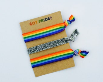 Pride Hair Ties, LGBT, LGBTQ, Lesbian, Gay, Bisexual, Transgender, Queer, Rainbow, Elastic Hair Ties, Creaseless Hair Ties