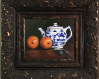 "Gift, Framed-Orange Tea"" Original Oil Painting English teapot,ORIGINAL PAINTING, blue willow, oranges, teapot, kitchen art,"
