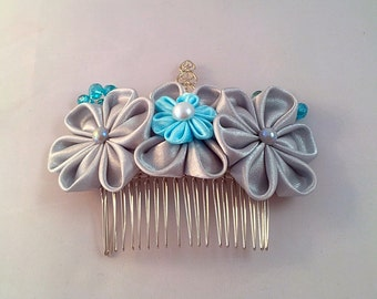 Stunning silk Kanzashi hair comb in silver and blue