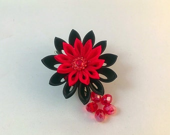 Burlesque red and black hair clip or broach