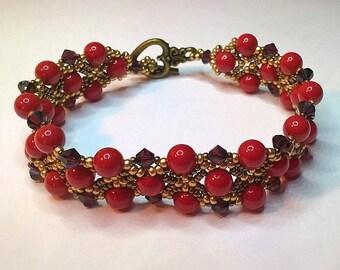 Swarovski Coral Red Pearl Netted Bracelet
