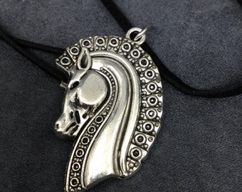 Horse Jewelry, Horse Pendant Necklace, Silver Tone Horse Head, Horse lover necklace, Gift for Her, Gift for Him