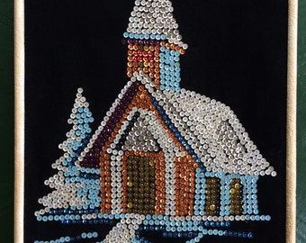 Vintage Sequined Church Picture