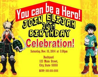 Boku no hero academia party invite, My hero academia