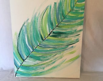 blue green feather painting