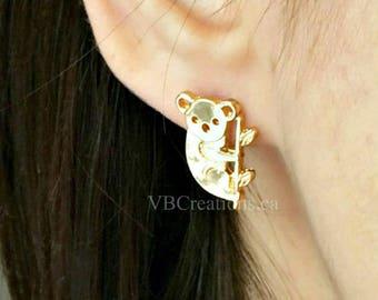 Koala Earrings - Animal Earring - Zoo Earrings - Animal Jewelry - Koala Jewelry - Leaf Earrings - Studs Earrings - Silver - Gold - Gift Idea