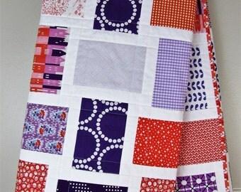 Clemson Baby Quilt - Clemson Toddler Quilt - Purple and Orange Quilt