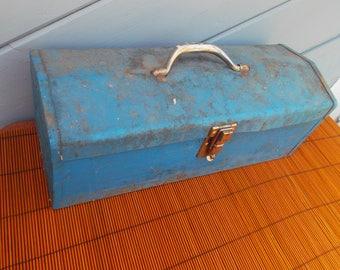 Vintage Industrial Blue Metal Toolbox