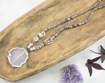 Grey Long Beaded Necklace, Long White Agate Pendant Necklace, Gray Beaded Necklace, White Pendant Necklace, Raw Agate Necklace