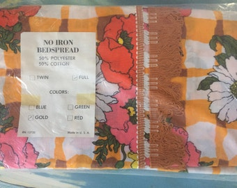 Vintage mustard floral plaid full size bedspread still in package!