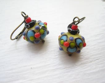 Lamp work earrings, glass bead earrings, colourful glass, glass earrings