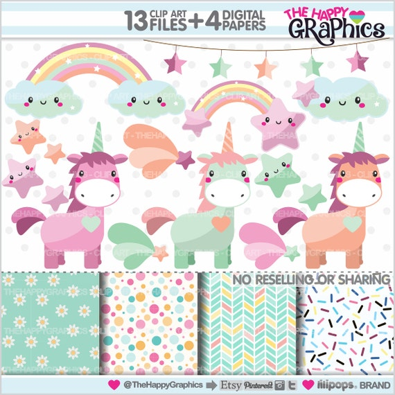 80%OFF Unicorn Clipart Unicorn Graphics COMMERCIAL USE