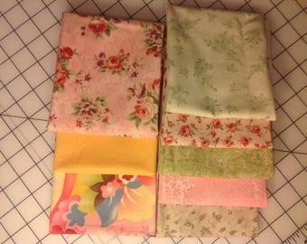 Pastel Floral Fat Quarter bundle of 8 fabrics- 100% cotton