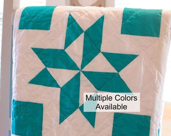 Traditional Quilt, Sofa Throw Size Quilt, MADE TO ORDER, Modern Quilt, Red White Quilt, Teal White Quilt, Star Pinwheel Quilt