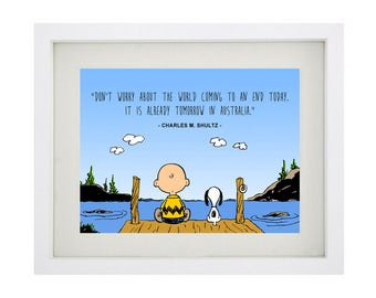 CHARLES M SHULTZ Famous Quote Framed Art Print - Charlie Brown - Snoopy - Peanut - Australia Famous Quote