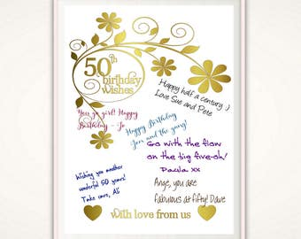 50th Birthday Poster - 50th Birthday Gift for Women, PRINTABLE, Gift for Coworker, 50th Birthday Wall Art, Gift for Colleague, DIY Gift Idea