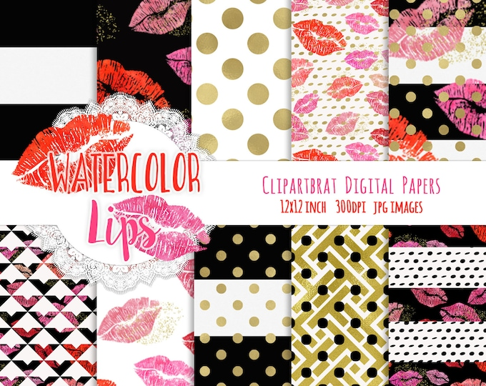 WATERCOLOR LIPS Digital Paper Pack Valentine's Day Red Pink & Gold Metallic Commercial Use Papers Lipstick Smears Makeup Digital Paper Pack