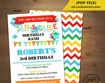 Slip N Slide birthday bash invitation backyard primary colors pool party invite Instant Download YOU EDIT TEXT and print yourself 5492
