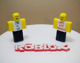 ROBLOX Newb Charachter & Logo, Fondant Cake Topper Set