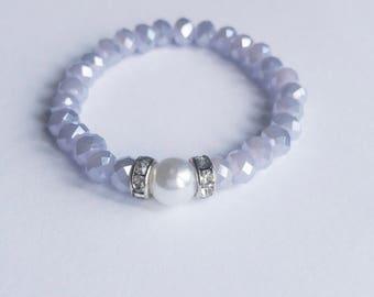 Newborn/infant-lavender iridescent and pearl beaded bracelet