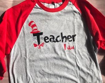 Teacher I am Tee- Baseball Raglan-Baseball Tee-Dr Seuss Teacher tee