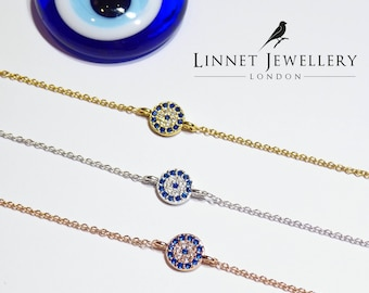 Small Blue Lucky Evil Eye Bracelet Cz 925 Silver Rose Gold