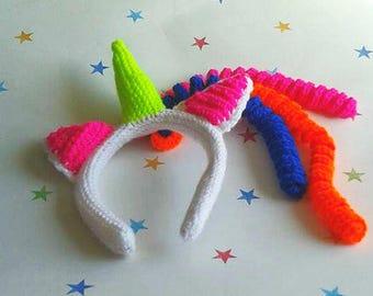 Unicorn Headband, Kids Hair Accessory, Unicorn Cosplay, unicorn birthday, photo prop, cake smash, girls headband, bright unicorn,