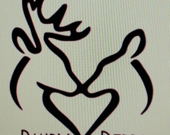 Hunting Decal, Buck and Doe Decal, Personalized Decal, Yeti Tumbler Decal, Car Window Decal, Laptop Decal