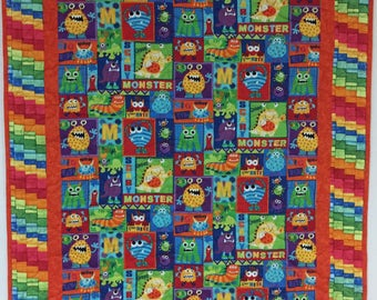 Monsters Baby Quilt #Bright Colors #Toddler #LapQuilt #Throw