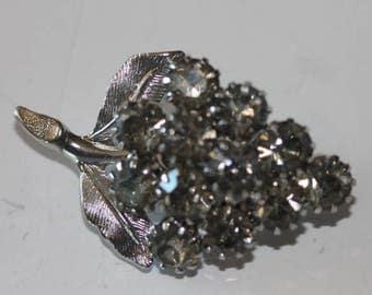 Silver tone silver grey rhinestone grape cluster pin brooch