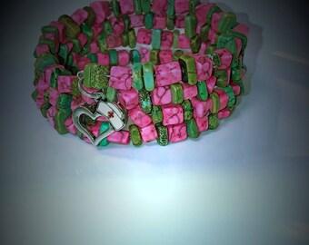 Memory Wire Wrap Bracelet, Memory Wire Beaded Wrap Bracelet, Beaded Bracelet