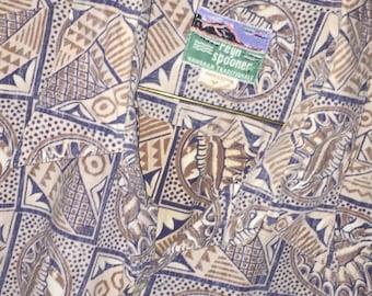 Vintage Hawaiian Reyn Spooner Reverse Print short-sleeve shirt in soft blue & beige, Sz XL