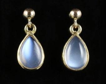 Moonstone Drop Earrings Beautiful Moonstones 9ct Gold