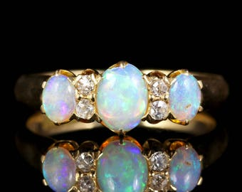 Antique Victorian Opal Diamond Ring 18ct Gold