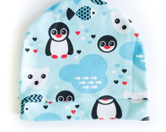 "Organic cotton cap ""penguins and bears"""