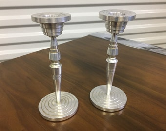 Pair of industrial machine age candlesticks