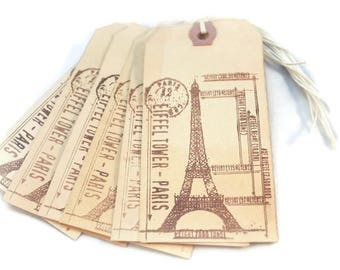 Eiffel Tower Gift Tags, French Tags, Paris Tags, Tea Stained Tags, Hang Tags, Primitive Tags, French Chic Tags, Merchandise Tags, Shabby Tag