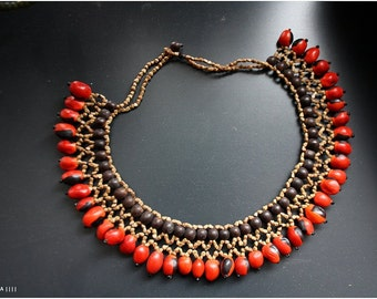 Enamora Huayruro seed necklace, ayahuaska necklace, amazon seed necklace, tribal necklace, ethnic necklace/bohemian necklace/beaded necklace