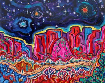Starry Night in New Mexico * Giclee print,  impressionism, southwest landscapes, matted giclee print, fine art print,  wall art, colorful