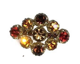 Rhinestone Brooch, Topaz Pin, 1940s-1950s,   Mid Century Jewelry, Gold Tone, Orange, Rootbeer, Austria