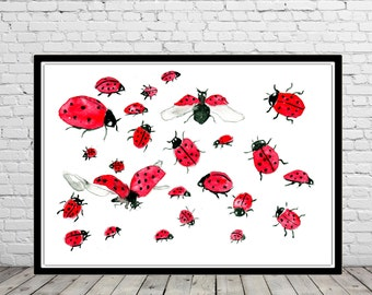 Ladybird, watercolor ladybird, ladybird print, room decor,  watercolor painting, watercolor print  (2016b)