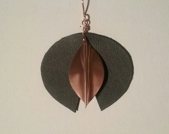Copper and Leather Disc Earrings