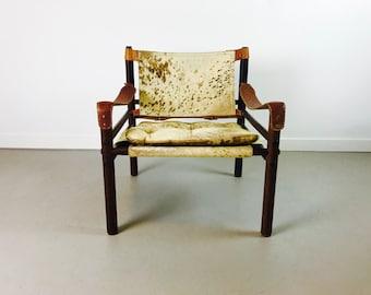 Rare Arne Norell Mid Century Modern Rosewood Hide Sirocco Safari Chair